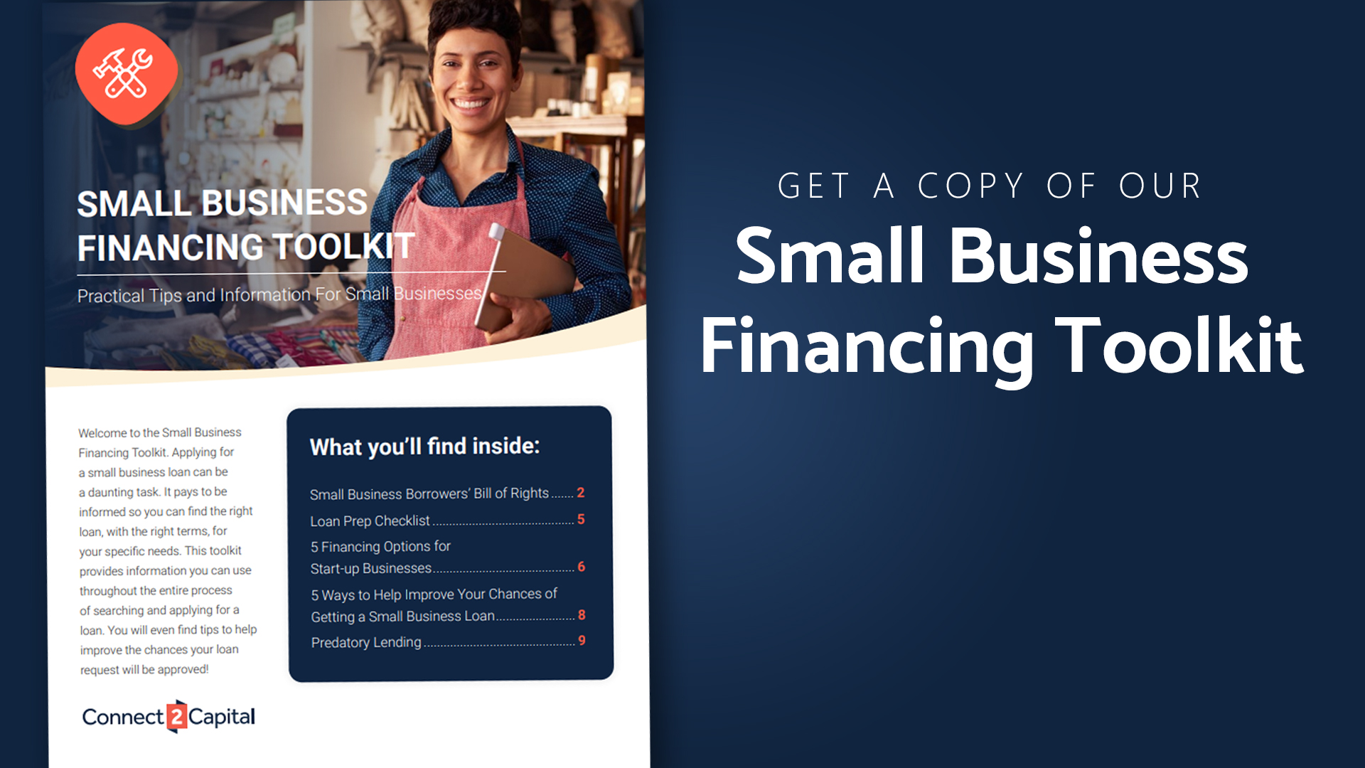 Get a copy of our small business financing toolkit