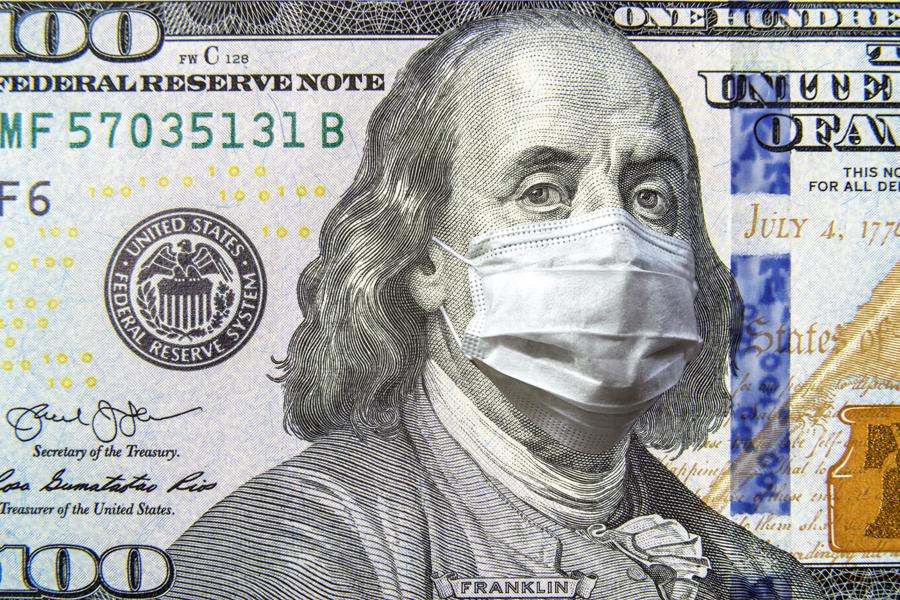 $100 bill with mask.