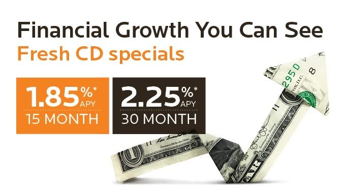 Financial Growth You Can See. Fresh CD specials. 15 months, 1.85% APY. 30 months, 2.25% APY.